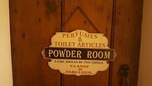 French Shabby Chic Bathroom Sign Powder Room Vintage Perfume