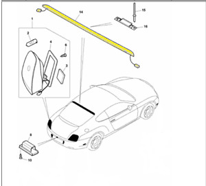 2004+ Bentley Continental GT Center High Mount LED Brake Lamp #3W8945097L