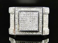Mens 10K White Gold Round Cut Diamond Pave Set Designer Pinky Band Ring .78 Ct