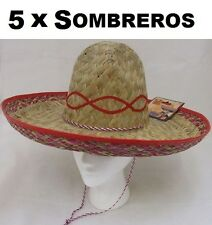 5 x Sombreros Mexican Fancy Dress Straw Sombrero Hat Beige/Red New by Smiffys