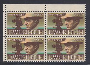 US Sc 1555 MNH. 1975 10c D.W. Griffith Sheet Corner Block, brown color shift
