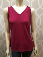 Worthington Women's Dark Pink Sleeveless Top Size L Large Stretch V Neck Jersey