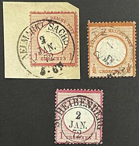 DR 1872 Lot vom 2. Tag der Reichspost - 3 Marken alle mit Attest