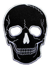 Big Black Skull Motorcycles Biker Rock Embroidered Iron on Patch Free Postage