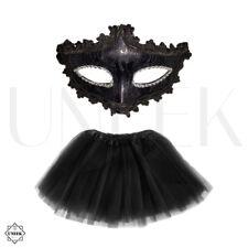 Ladies 'Black Swan' Ballerina Tutu & Masquerade Mask Halloween Fancy Dress