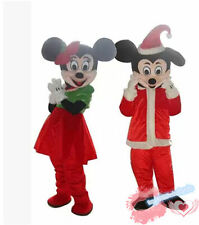 Christmas Mickey And Minnie Mouse Mascot Costume Xmas Party Parade Dress Adults
