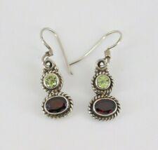 925 Sterling Silver Peridot & Garnet Earrings