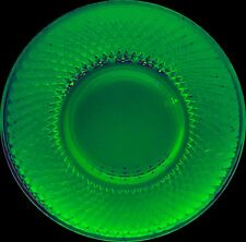 "Green Depression Glass Plate, 8 1/2"", quilted diamond, crosshatch uranium"