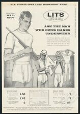 1963 locker room men man with shotgun art Lits underwear vintage print ad