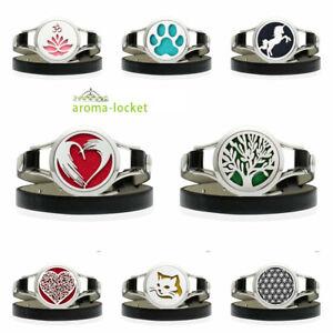 30mm Aroma Essential Oil Diffuser Plain Twist Locket PU Leather Watch Strap