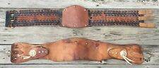 OLD VTG ANTIQUE USA LEATHER MOTORCYCLE KIDNEY BELT BUCO PART REPAIR LOT SET OF 2