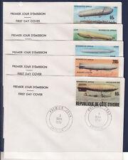 COTE D'IVOIRE    enveloppe  ;  5  rétrospective  Zeppelin  1977