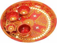 New Rajasthani Traditional Metal Hand Painted Pooja Puja Aarti Thali Plate