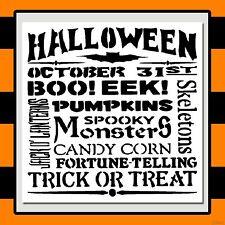 12 X 12 HALLOWEEN STENCIL Sign/Word:BOO! EEK!/Pumpkins/Spooky Monsters/Skeletons