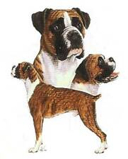 BOXER UNCROPPED Multi DOGS on TWELVE Identical 6 inch Fabric Squares to Quilt