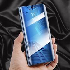 Transparente Ver Espejo Smart FUNDA AZUL para Huawei P10 Lite Wake Up NUEVO