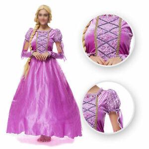 Women Tangled Rapunzel Cosplay Costume Princess Fairytale Adult Dress Ball Gown