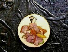 "Antique Vintage Hand Painted SATSUMA Ceramic Button-Geisha with Fan 1 1/4 """
