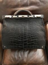 Alligator Doctor's Bag Large Antique Black Gator w Red Leather Interior