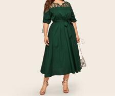 Spitzenkleid Eventkleid Dress Cocktailkleid Abendkleid Gr.48/50 grün