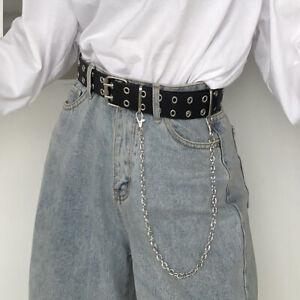 Alloy Women Leather Double Row Belts Chain Luxury Pin Buckle Ladies Retro Punk
