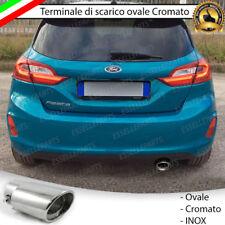 TERMINALE SCARICO CROMATO LUCIDO OVALE ACCAIO INOX FORD FIESTA 7 SCARICO SINGOLO
