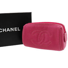 CHANEL Multi Mini Pouch Clutch Pink Caviar Skin Leather Vintage Auth #HH443 I