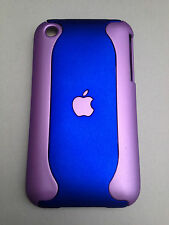 SOFT TOUCH 2-PIECE PLASTIC BACK CASE / COVER FOR APPLE iPHONE 3 3GS - BLUES
