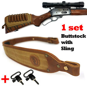 1 sets Rifle Shell Holder with Gun Sling, Buttstock & Rifle Sling Leather Canvas