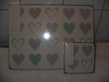 Love Heart 4 Table Place Mats and Coaster Set BNIB Cream with Grey & Teal