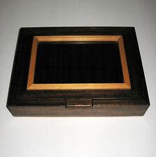 Mixed Dark & Light Wood Pen Display Hinged Case Box Window Holds 8 Pens