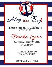 Anchor, Nautical, Sailor Baby Shower Invitation Personalized Custom You Print
