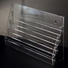 Acrylic Clear 4 Stairs Display Postcard Shelf Brochure Stand