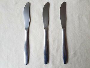 Vintage MODERNA BOSTON Dessert Knife x 3 Stainless Steel Cutlery Mid-Century