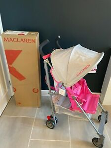 NEW Maclaren Silver / Azalea Pink Volo Pushchair / Stroller Boxed inc Raincover