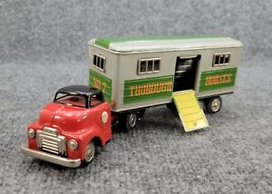 VINTAGE SSS TIN LITHO FRICTION TOY SEMI TRUCK HORSE TRAILER MADE IN JAPAN