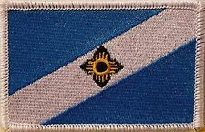 Madison Wisconsin Flag Morale Patch With VELCRO ®  Brand Fastener WHITE Border