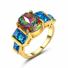 Mystic Rainbow Big Stone Wedding Ring Bow 10KT Yellow Gold Plated Jewelry Size 8