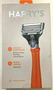 Harry's Razor 2X (5-blade Cartridges) 1 Razor Handle Bright Orange Shaver New