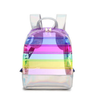 Hot PVC transparent jelly backpack rainbow stitching laser waterproof womens bag