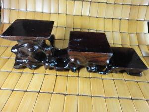 "CHINESE BLACK HARDWOOD NICE CARVE BONSAI POT/VASE STAND 250mm 9.8"" three layer A"
