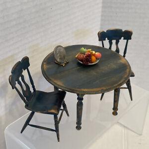 VTG Artist MALON '86 Aged Colonial Breakfast Table Set Dollhouse Miniature 1:12