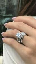 1.50ct Round Cut Diamond 14k White Gold Over Engagement Wedding Trio Ring Set @