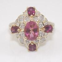 14K Yellow Gold Purple Tourmaline Diamond Accent Cluster Ring Size 6  GHA