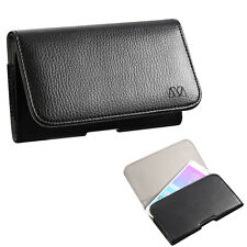 Black Leather Case Clip Horizontal Pouch for Samsung Galaxy J7 V / PERX / PRIME
