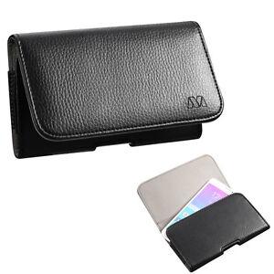 Black Leather Case Clip Horizontal Pouch for Samsung Galaxy J7 V / PERX / PRIME