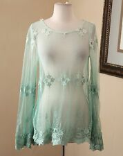 Love Stitch Ombre Teal Green Blue Sheer Mesh Lace Blouse Shirt Sz M Floral Boho