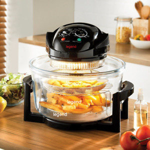 Legend 12L-17L Halogen Convection Oven Cooker Air Fryer with Extender Ring Black