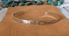 "❤️STERLING SILVER❤️LOVE BELIEVE DREAM"" Engraved Cuff Mantra Inspiration Bracelet"