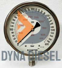 150mm Dial High Pressure Gauge Dual Scale 600 Bar 8500 Psi 12 Bsp Connection